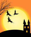 Halloween on orange background. Halloween on orange full moon background has bat castle Royalty Free Stock Photo