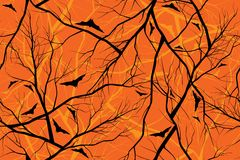 Halloween orange background grunge image of forest Royalty Free Stock Image