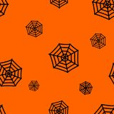 Halloween orange background with spiders web silhouettes festive seamless pattern. Endless background. Vector illustration Stock Photo