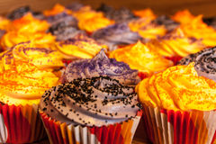 Halloween Orange and Black Cupcakes Royalty Free Stock Photography