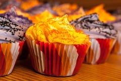 Halloween Orange and Black Cupcakes Royalty Free Stock Photo
