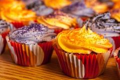 Halloween Orange and Black Cupcakes Royalty Free Stock Image