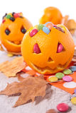 Halloween orange and candy Stock Photography