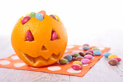 Halloween orange and candy Stock Images