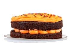 Halloween orange chocolate cake Stock Image