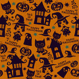 Halloween orange festive seamless pattern Stock Images