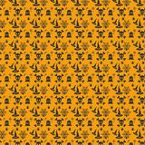 Halloween orange festive seamless pattern. For web design and application interface, also useful for infographics. Vector illustration Stock Images