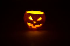 Halloween orange fruit jack  lantern on dark Stock Photography
