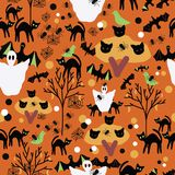 Halloween orange hand drawn patter stock illustration
