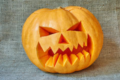 Halloween orange pumpkin on a burlap background in a rustic styl Stock Photography