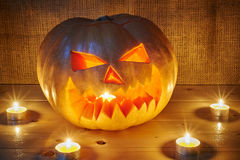 Halloween orange pumpkin jack lantern with candles Stock Photography