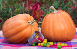 Halloween orange pumpkins and colorful candy in a bucket Royalty Free Stock Image
