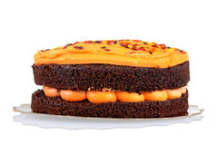 Halloween-orange Schokoladenkuchen Stockbild