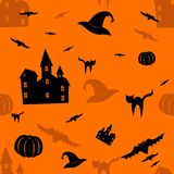 Halloween orange seamless pattern. Stock Photos