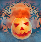 Halloween orange tones. Halloween pumpkin on the table on background of a full moon Stock Photography