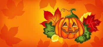 Halloween, oranje achtergrond met pompoen stock afbeelding