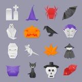 Halloween origami icons. Halloween flat paper origami icons set stock illustration