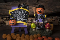 Halloween ornament party with orange candy Stock Photo