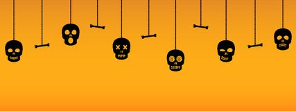 Halloween ornaments with hanging sculls Royalty Free Stock Photo