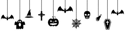 Halloween ornaments hanging on white background Stock Image