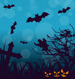 Halloween Outdoor Background with Scary Pumpkins Stock Image