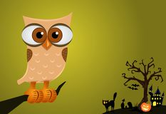 Halloween Owl Background. Artistic Halloween background including some Halloween items and symbols; owl, dead tree, gravestones, pumpkin, black cat, and haunted Stock Images
