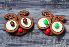 Halloween owl cookies for party. Selective focus Stock Photography