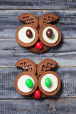 Halloween owl cookies for party. Selective focus Royalty Free Stock Photo