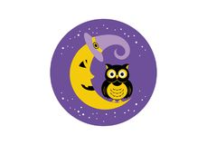 Halloween owl. Vector illustration. Halloween owl icon or logo in modern line style. Vector illustration royalty free illustration