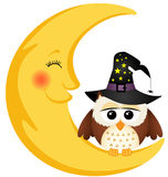 Halloween owl on the moon Stock Images