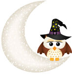 Halloween owl on the moon Stock Photos
