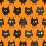 Halloween owl seamless. Vector background. Royalty Free Stock Photo