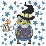 Halloween Owl. Vector illustration of Halloween set with owl, Day of the Dead, Night sky Stock Images