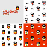 Halloween owls. Seamless pattern set Royalty Free Stock Image