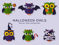 Halloween owls set 2 Royalty Free Stock Image