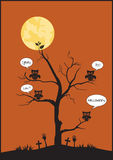 Halloween  owls and tree on moon background,Vector illustrations. Halloween  owls and tree on moon background Stock Photo