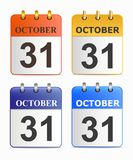 Halloween on page of calendar in different versions. Stock Photo
