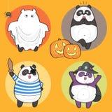 Halloween Panda. Vector Halloween Set of cute cartoon panda bear characters Royalty Free Stock Photo
