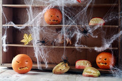 Halloween pantry. With spider web covered shelves crawling with large black spiders and orange jack-o-lanterns with scary faces and a bat flying overhead Stock Image