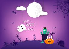Halloween paper art, Boo! lettering message, pumpkin, spider, zombie, cat and spooky cartoon puppet characters with purple theme royalty free illustration