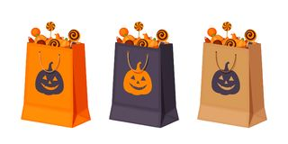 Halloween paper bags with candies. Vector illustration. Set of three Halloween paper bags with candies. Vector illustration Stock Photos