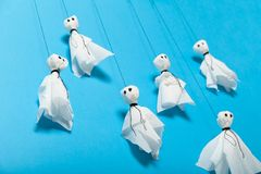 Halloween paper craft, scary ghosts for kids stock photo