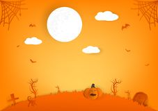 Halloween paper cut, pumpkin, spider and cat cartoon characters with full moon, autumn celebration party abstract background royalty free illustration