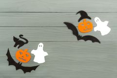 Halloween paper silhouette of different characters Royalty Free Stock Photos