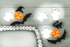 Halloween paper silhouette of different characters Stock Images