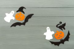 Halloween paper silhouette of different characters Royalty Free Stock Photo