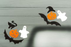 Halloween paper silhouette of different characters Stock Photos