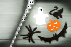 Halloween paper silhouette of different characters Royalty Free Stock Images