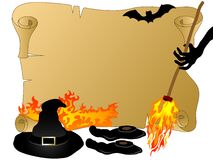Halloween parchment. Witches hat,broom and shoes Stock Photos
