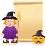 Halloween Parchment with Cute Witch. A Halloween invitation card with a cute witch holding a broom, a pumpkin with witch hat and an old parchment scroll. Eps Royalty Free Stock Images